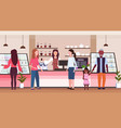 female barista coffee shop worker serving mix race vector image vector image