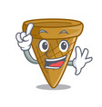 finger sweet wafer cone isolated on maskot vector image vector image