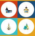 Flat icon christian set of architecture catholic vector image