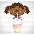 girl cup cake candle vector image vector image