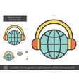 Global music service line icon vector image vector image
