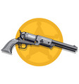 graphic detailed old revolver with sheriff star vector image vector image