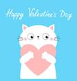 happy valentines day white cat kitten kitty head vector image vector image