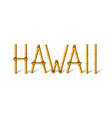 hawaii lettering made bamboo sticks tied vector image