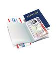 international passport with usa visa vector image vector image