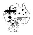 koala with hat australian flag map vector image vector image