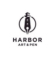 lighthouse and pen logo design inspiration vector image vector image