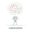 mathematician thinks about numbers vector image vector image