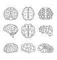 memory brain icon set outline style vector image