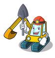 miner excavator mascot cartoon style vector image