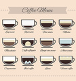Perfect of different types of coffee vector image vector image
