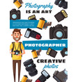 photographer man equipment and accessories vector image