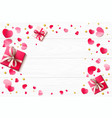 romantic background with paper hearts and present vector image