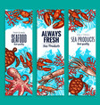 seafood restaurant sea food banners set vector image