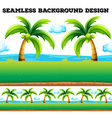 Seamless background with coconut trees vector image vector image
