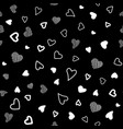 seamless pattern white hearts on black vector image