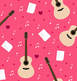 seamless pattern with guitars lyrics notes and vector image vector image