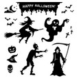 set black silhouettes monsters for halloween vector image