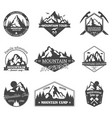 set isolated rocky mountain peaks or hills vector image vector image