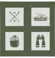 set of 4 camping silhouette icons and symbols vector image vector image