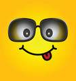 smiley with sunglasses cartoon vector image vector image