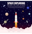 Space rocket launch exploring and research with vector image
