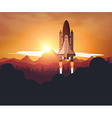 Space Shuttle with sunset background vector image