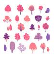 spring trees elements set pink and violet flat vector image