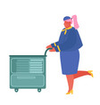 stewardess in blue uniform pushing trolley with vector image