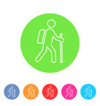 trekking hiking with stick bacpack icon flat web vector image vector image