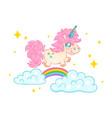 Unicorn on clouds with rainbow