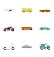 Vehicles icons set flat style vector image
