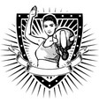 woman volley shield vector image vector image