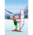 woman windboarding windsurfing on snow over small vector image