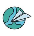world paper plane creativity icon design vector image
