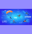 young men and women doing extreme sport activities vector image