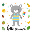cute bear with windmill hello summer funny vector image