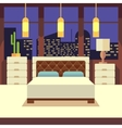 Bedroom interior in flat design style vector image