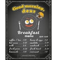 Breakfast menu on the chalkboard vector image