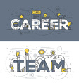 Flat design line concept banner Career and Team vector image