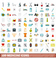 100 medicine icons set flat style vector image vector image