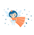 a cute tooth fairy holding a milk tooth vector image