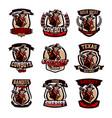 a set colorful emblems logos cowboy with a vector image