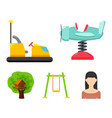 airplane on a spring swings and other equipment vector image vector image