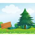 An empty wooden signboard at the garden vector image vector image