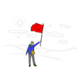 backpacker with red flag with black vector image