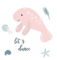 baprint with pink sea-cow hand drawn graphic vector image