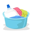 basin full of laundry and detergents vector image vector image