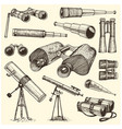binocular set monocular vintage engraved hand vector image vector image