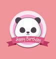 birthday card with cute bear panda kawaii vector image